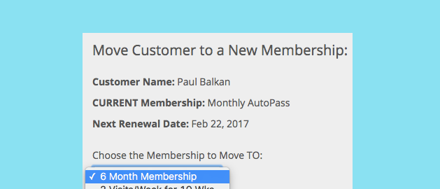 Screen shot of a studio owner moving a customer from one membership to another within Punchpass