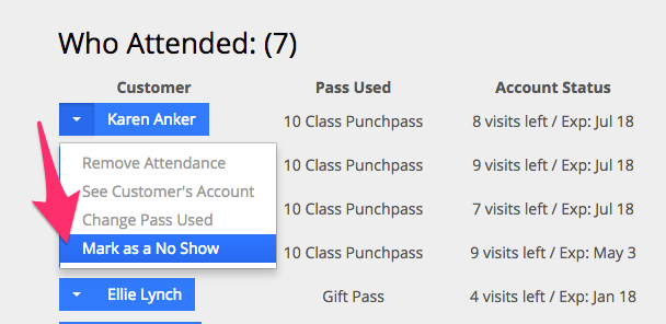 An example of a customer's attendance being changed to a no show in Punchpass.