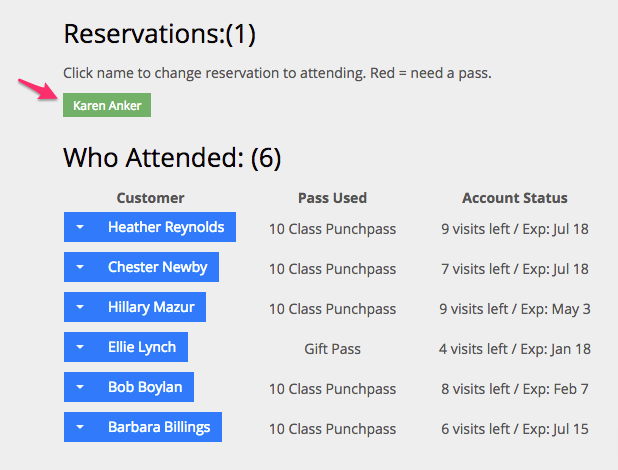 An example of a customer's reservation waiting to attend class in Punchpass.