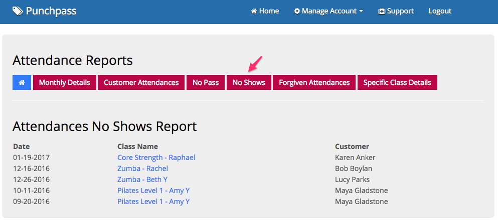 An example of the no show report in Punchpass.