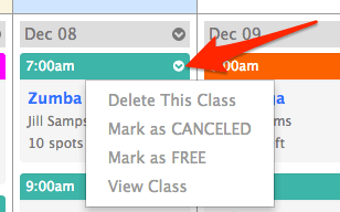 Screen shot of the dropdown to manage a calendar class