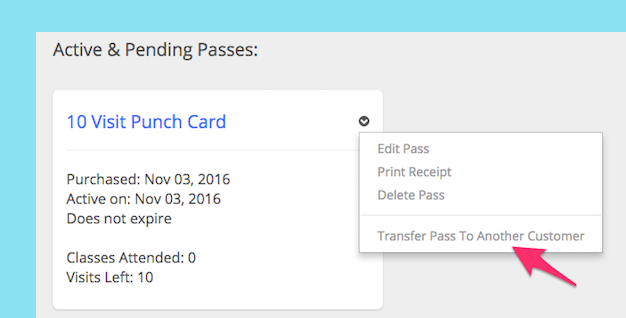 Screen shot of how to transfer a pass in Punchpass