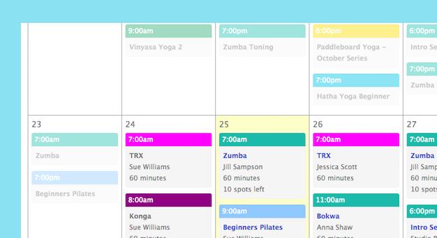 An image of Punchpass' online class schedule