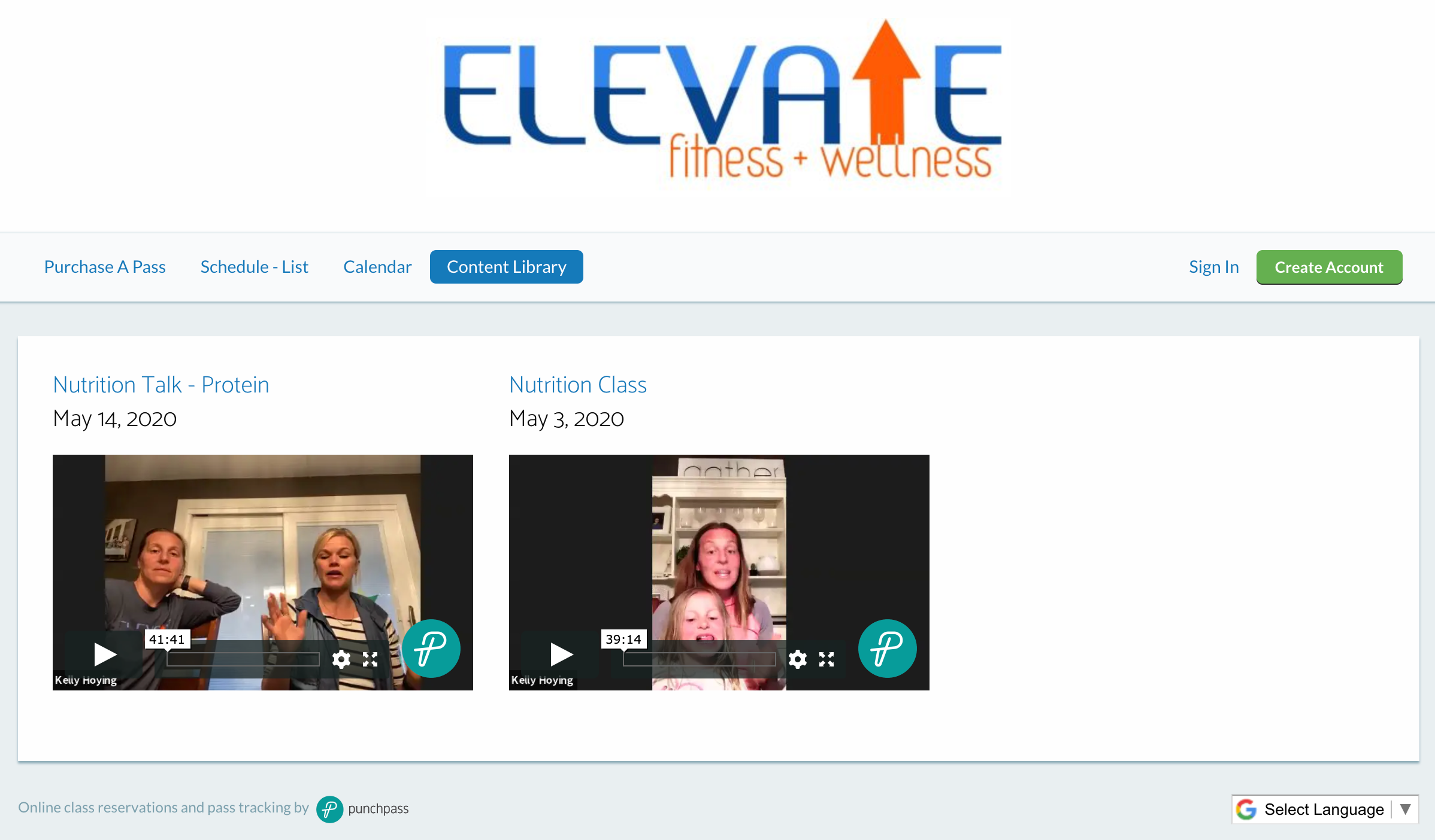 Punchpass client Elevate Fitness & Wellness Content Library
