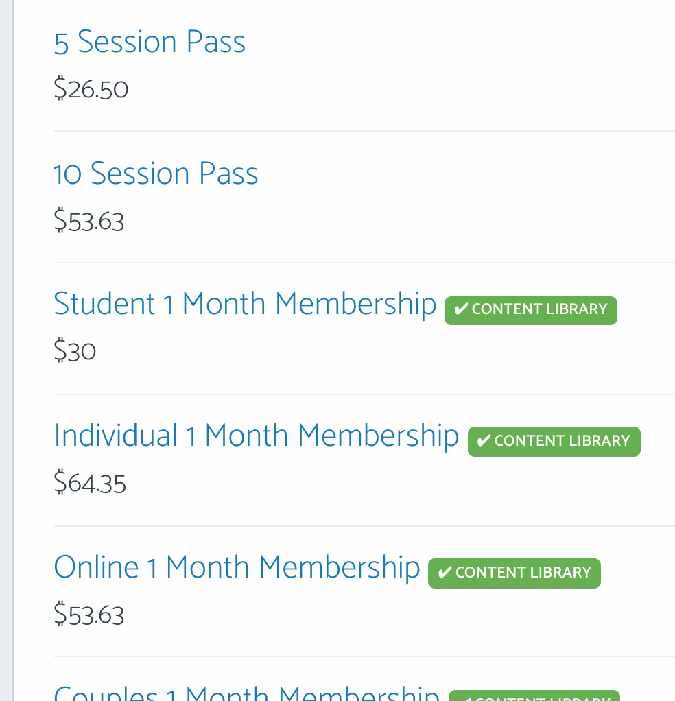 Content Library Pass List