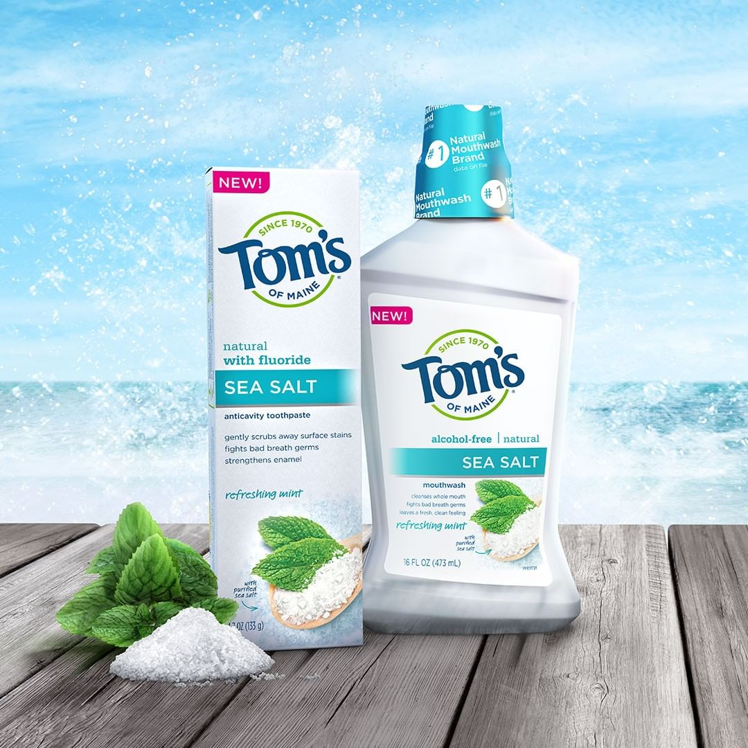 Tom's of Maine Natural Sea Salt Toothpaste and mouthwash