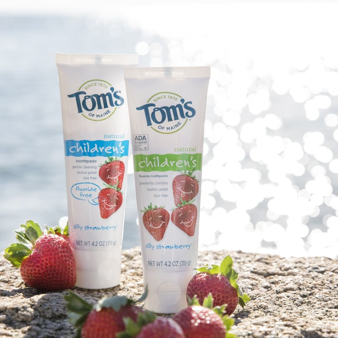 Tom's of Main Toothpaste with strawberries