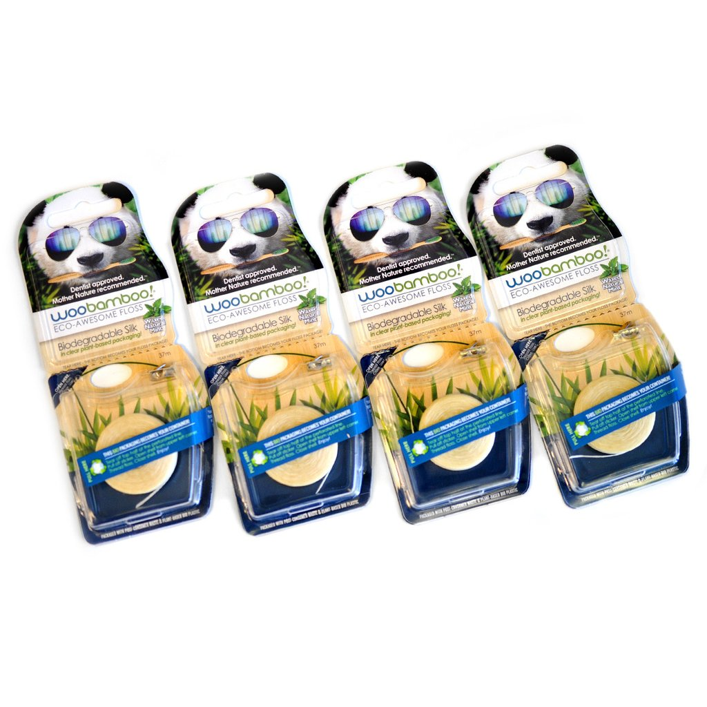 This shows four packages of WooBamboo floss. There is a panda wearing sunglasses at the top, and there is a description of the floss above the role of floss itself.