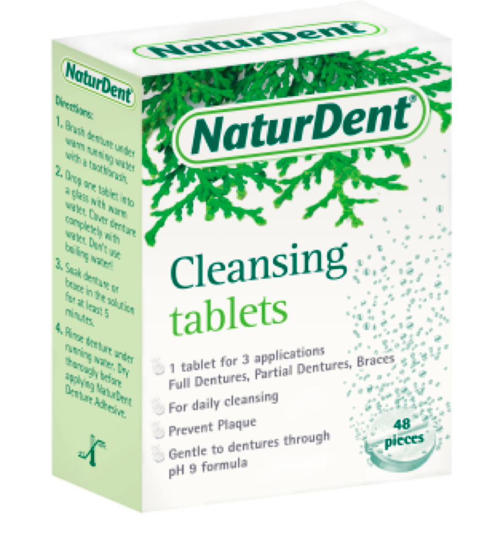NaturDent Cleansing Tablets box.  White box with green lettering and pine needles.