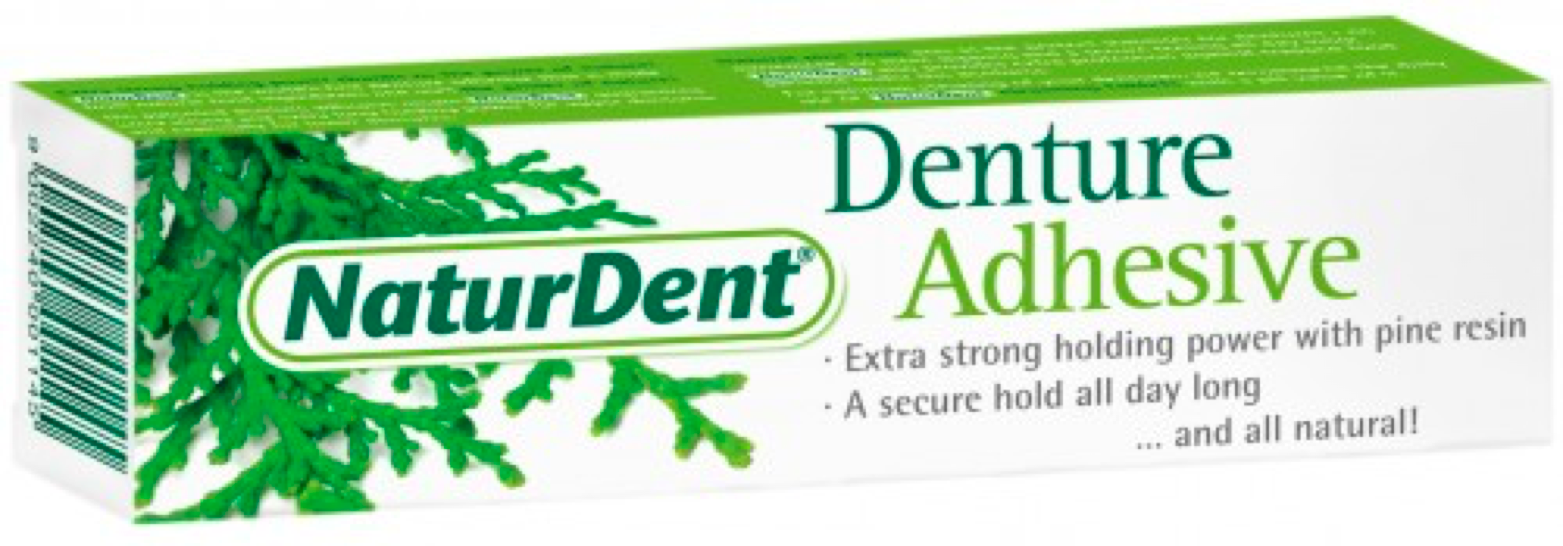 NaturDent Denture Adhesive.  Green and white box with pine needles.