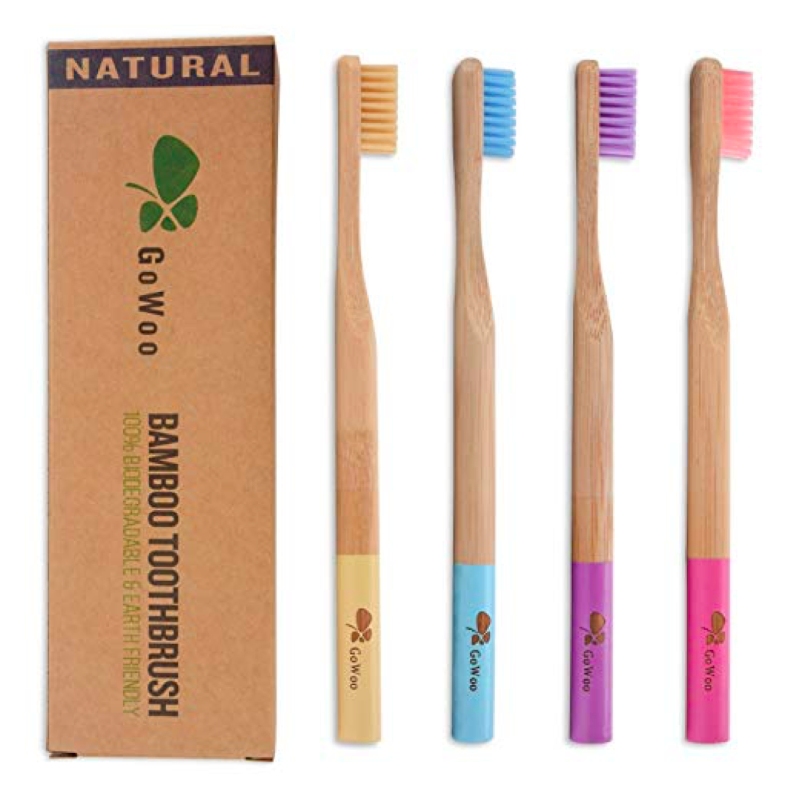 GoWoo Bamboo Toothbrush.  Small cardboard box with logo next to four bamboo toothbrushes.