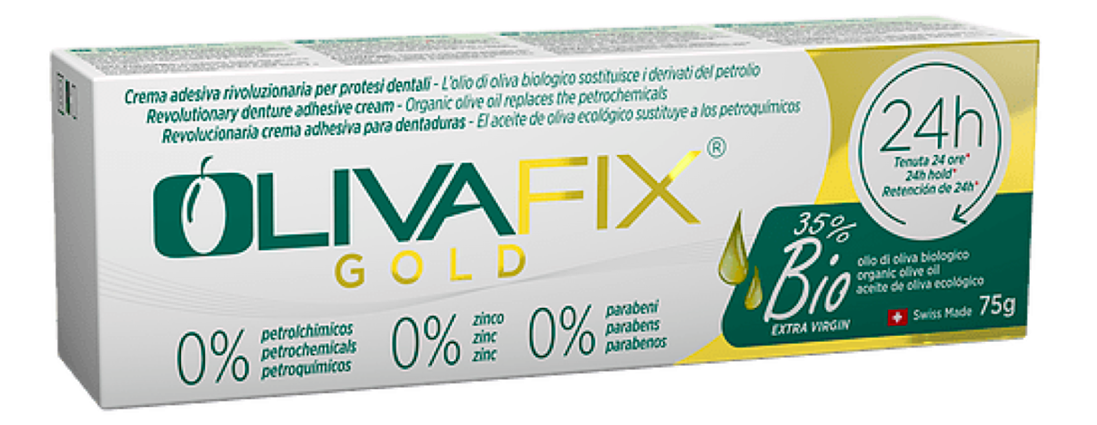 OlivaFix Gold box.  White box with green and gold coloring.