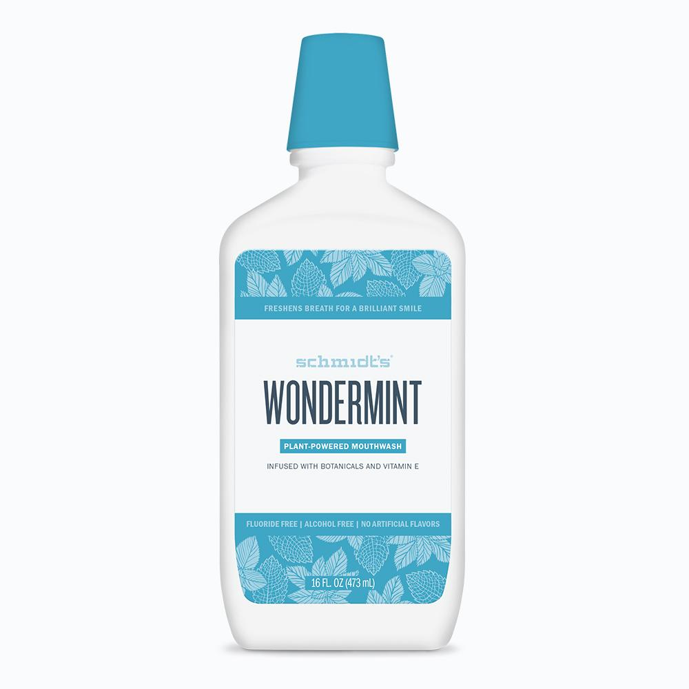Schmidt's Wondermint Mouthwash, which comes in a white and blue bottle, freshens breath for a brilliant smile.