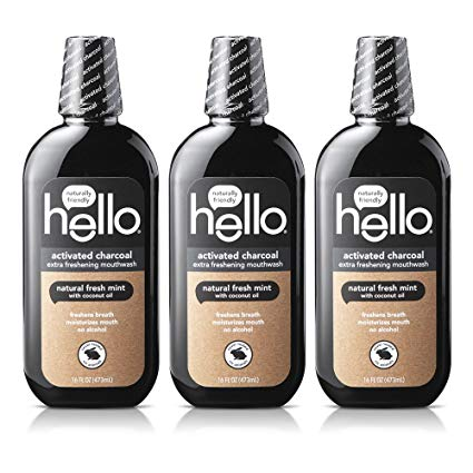 Hello Activated Charcoal mouthwash is all black and uses the activated charcoal to freshen breath.