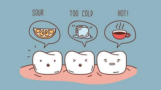 From left to right, three animated teeth think sour, too cold, and hot!