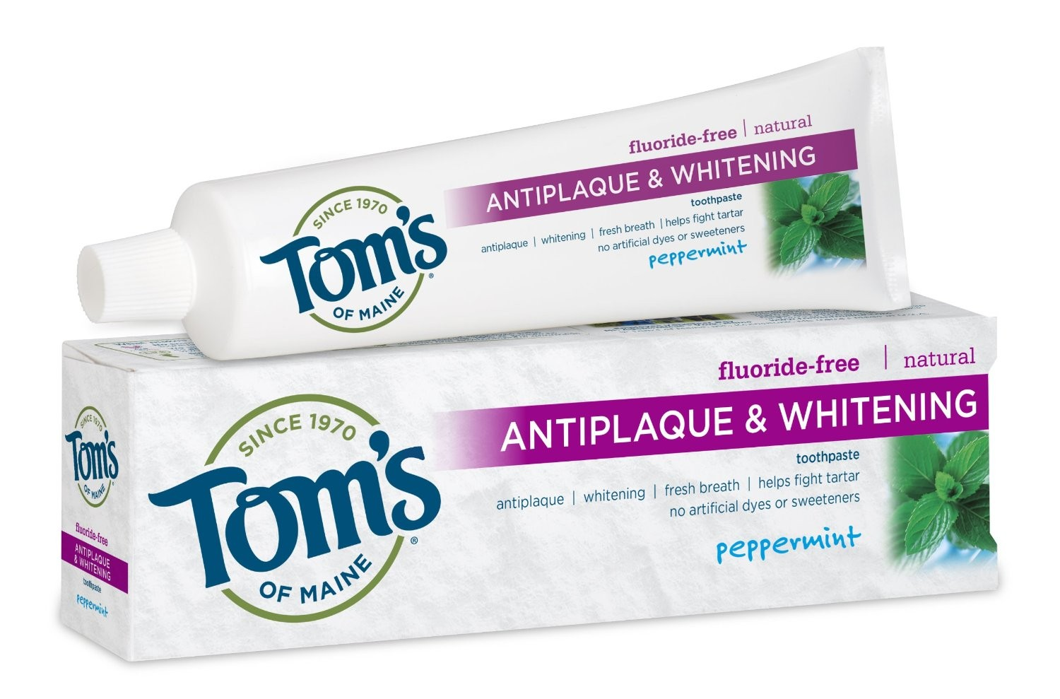 Tom's of Maine Fluoride-Free Antiplaque & Whitening toothpaste and box are pictured.