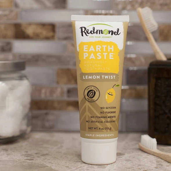 A Lemon Twist flavored Earth Paste toothpaste from Redmond.