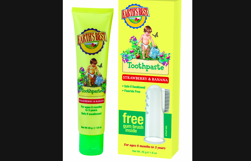 A strawberry and banana flavored kids' toothpaste from Earth's Best. The package includes a free gum brush.