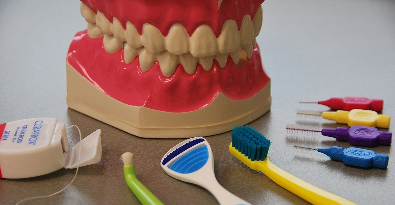 A selection of dental products sit waiting to be used.