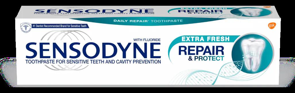A box of Sensodyne Repair & Protect toothpaste.