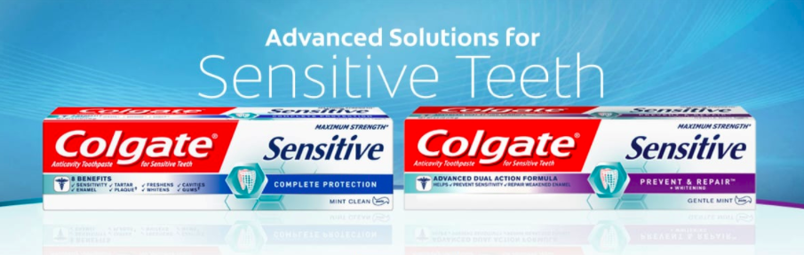 A box of Colgate Sensitive Complete Protection and a box of Colgate Sensitive Prevent & Repair.