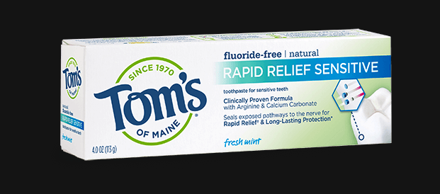 A box of Tom's of Maine Rapid Relief Sensitive toothpaste.