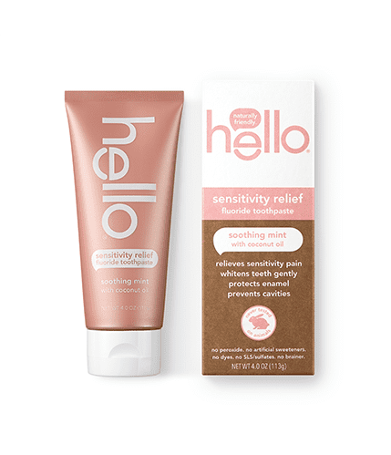A tube and a box of hello sensitivity relief toothpaste.
