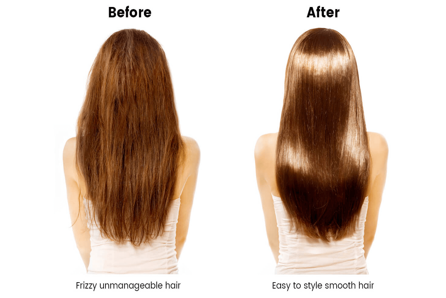 A before and after Hair Botox picture of a woman with long brown hair.