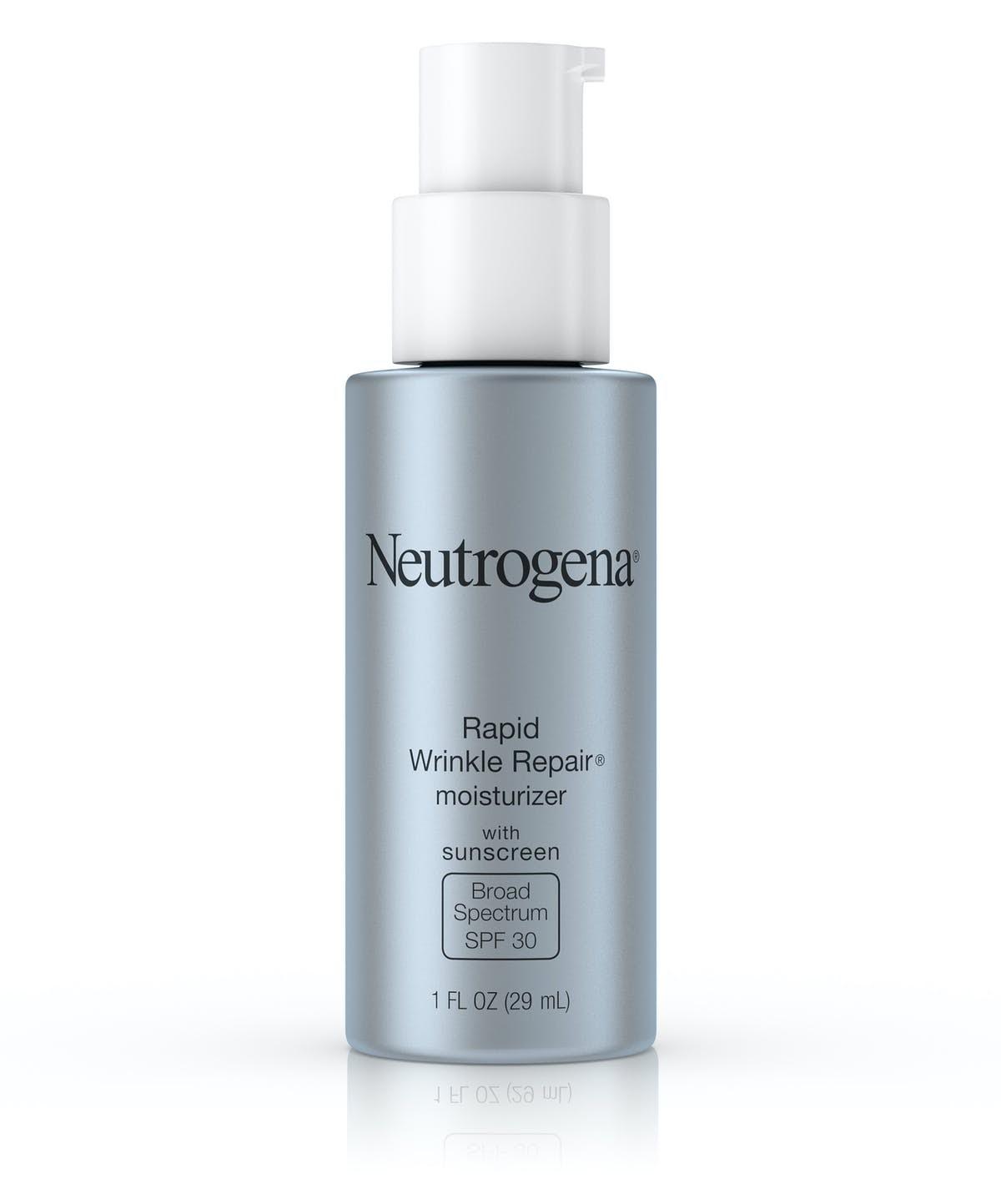 A silver pump bottle of Neutrogena Rapid Wrinkle Repair.