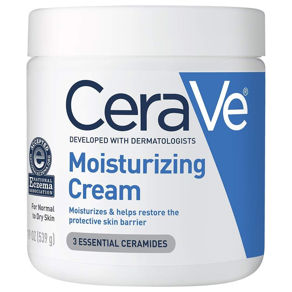 A white and blue jar of CeraVe moisturizing cream.