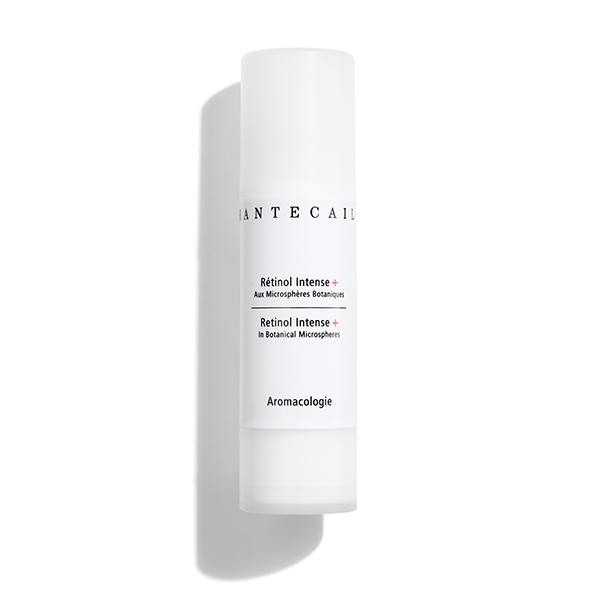 A white thin bottle of Retinol Intense cream.