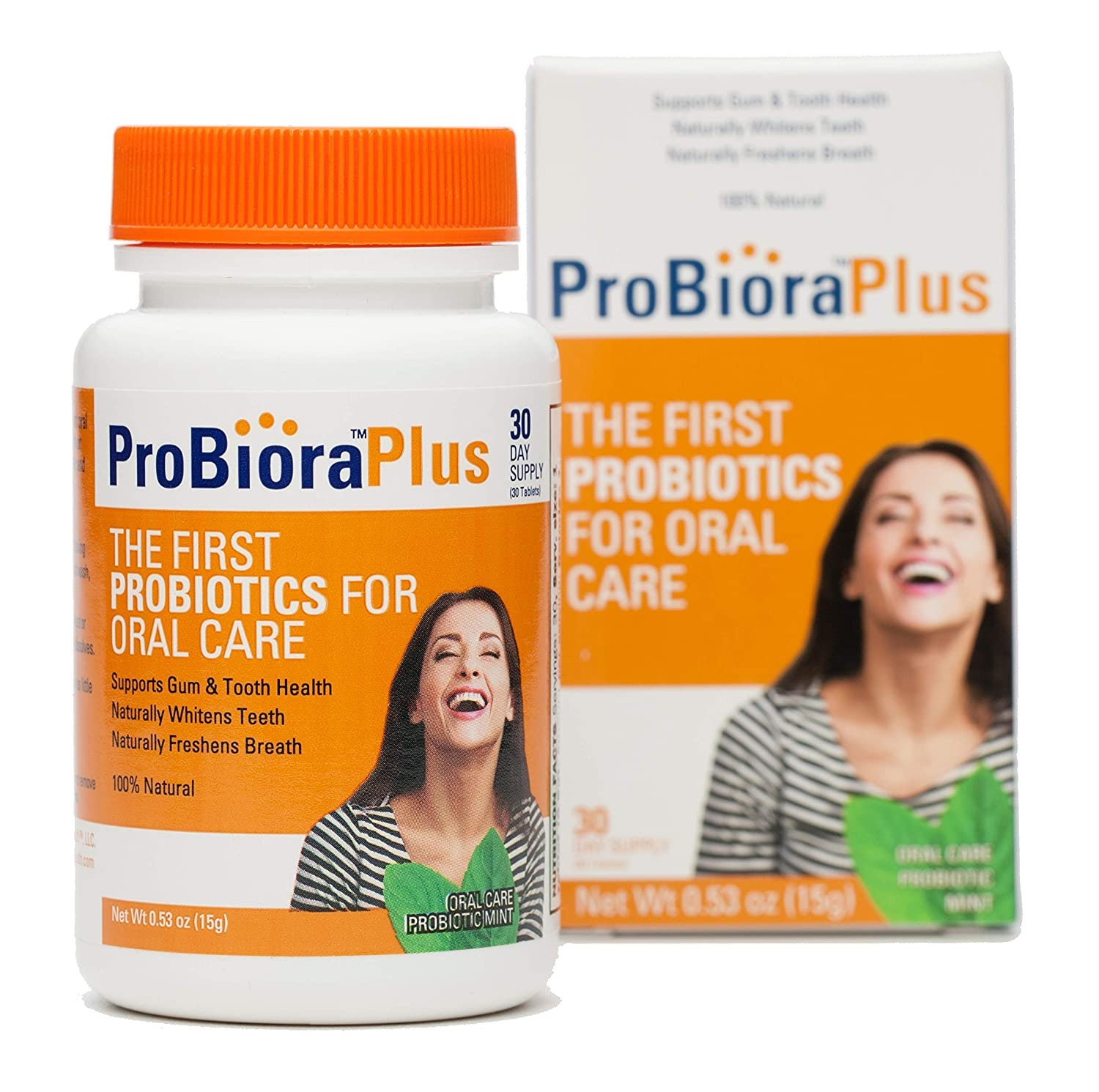 a bottle of ProBiora Plus oral probiotics great for oral and gut health