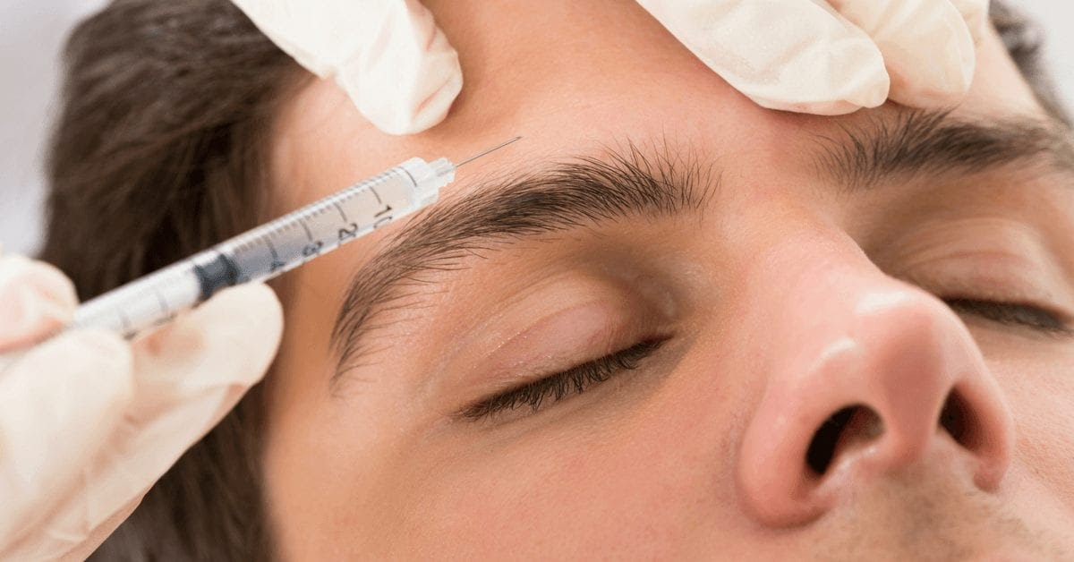 patient receiving botox in the forehead