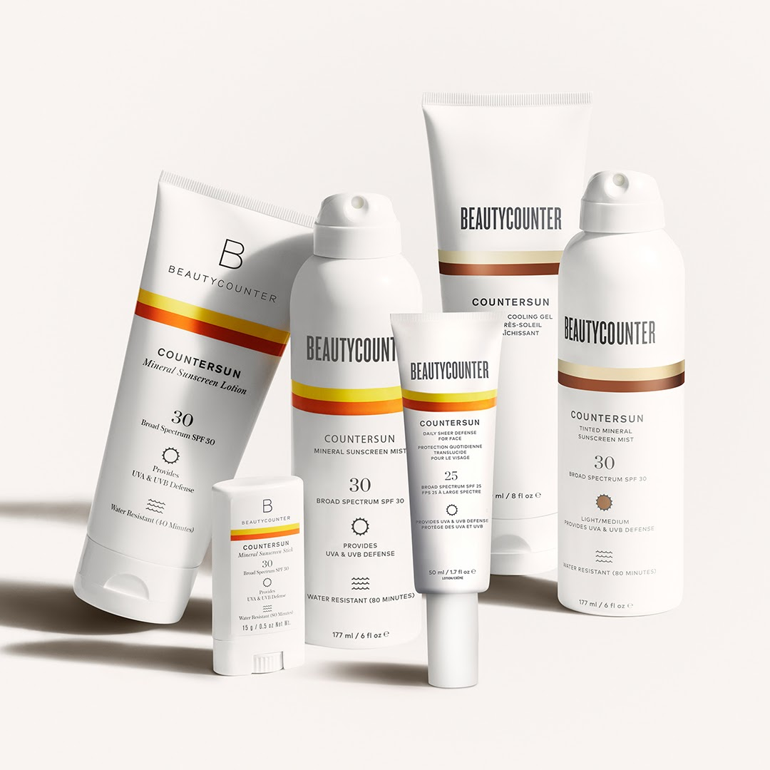 a lineup of Beautycounter sun-care products