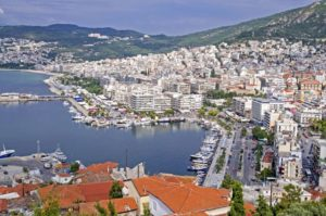 Kavala in Greece, port at Eagean Sea