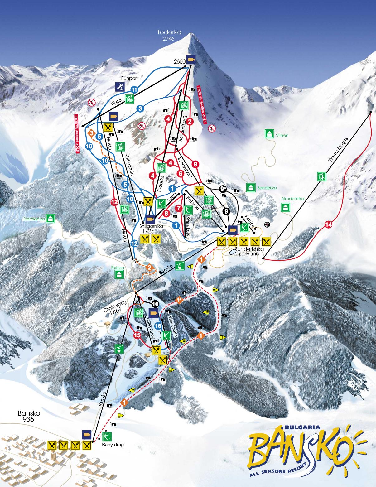 Bansko Ski Slopes Detailed Map