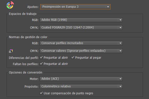 Ajustes de color para el paquete Adobe