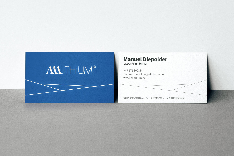 Allithium Design Visitenkarten Geschäftsunterlagen