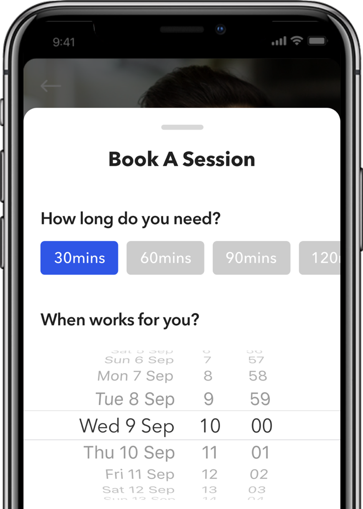Book a Session Screen