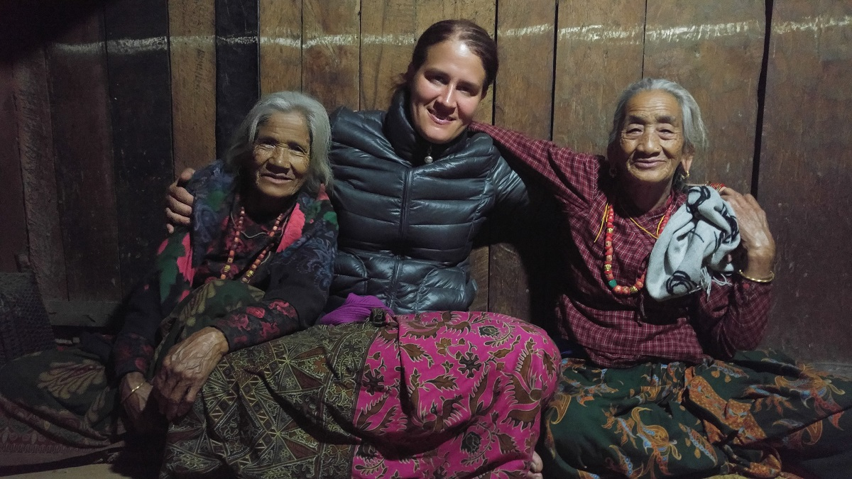 two of the matriarchs of the Rainaskot village in Nepal with Natasha Wozniak