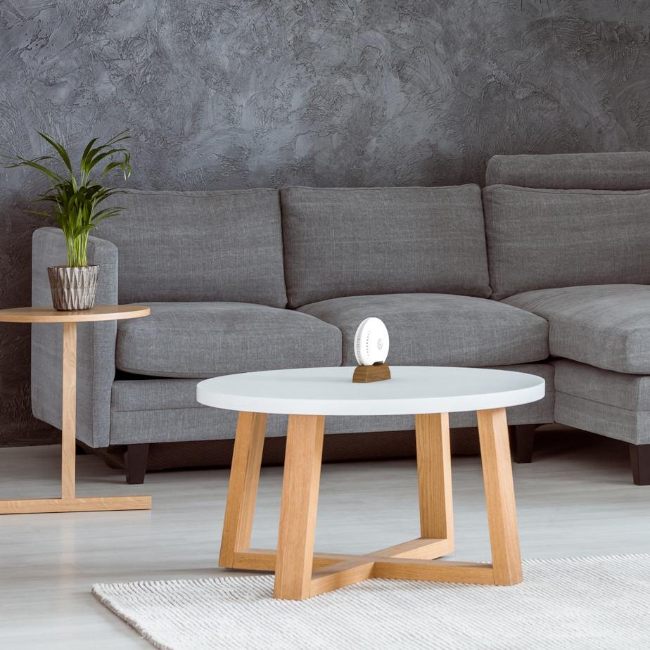 Luftanalysator Luftqualität air-Q im Wohnzimmer für Gesundheit