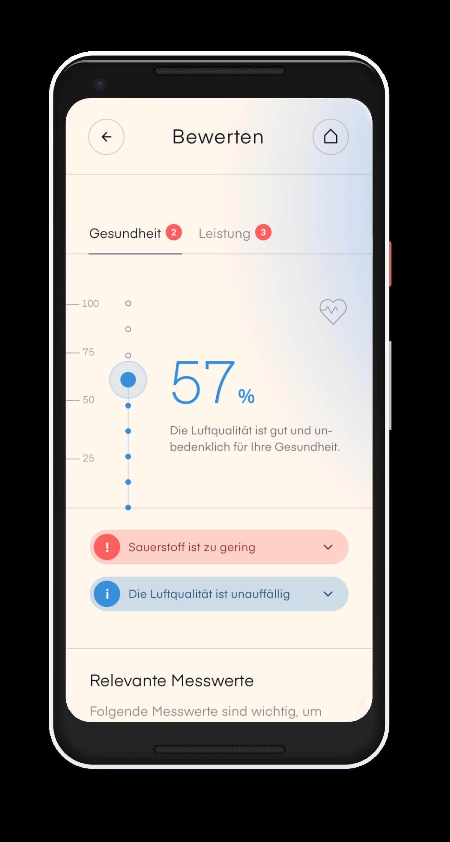 air-Q App Luftqualität erfassen Index