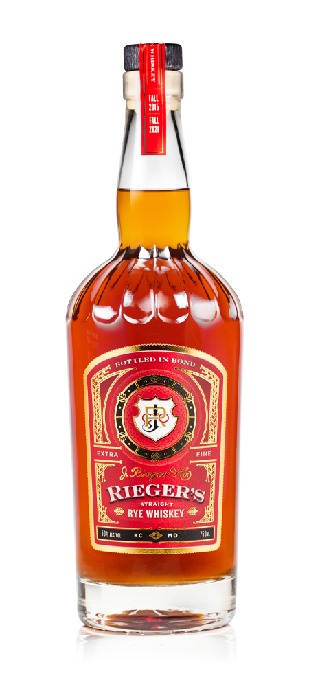 Image of Rieger's Straight Rye Whiskey bottle.