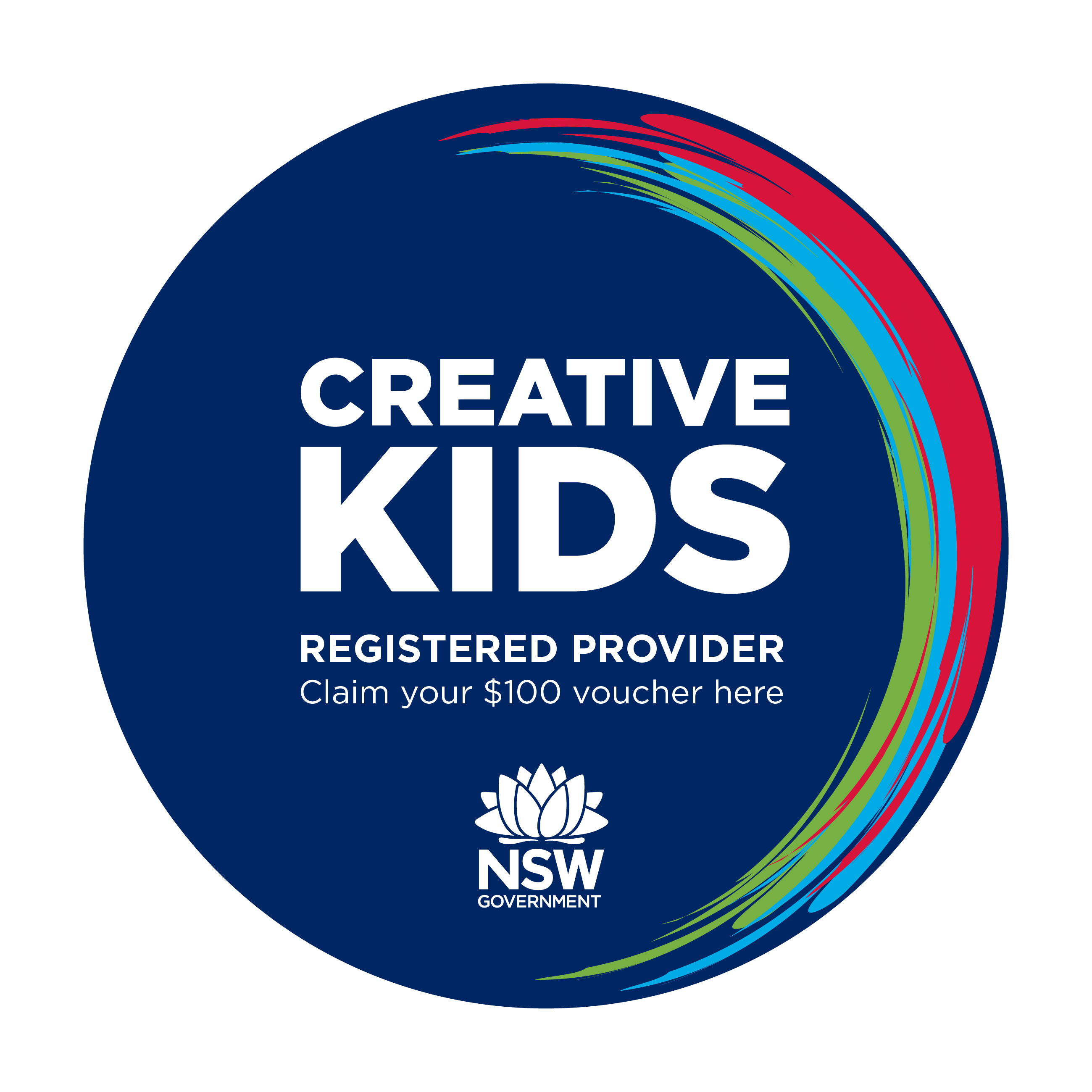 Creative Kids logo - registered provider, claim your $100 voucher here