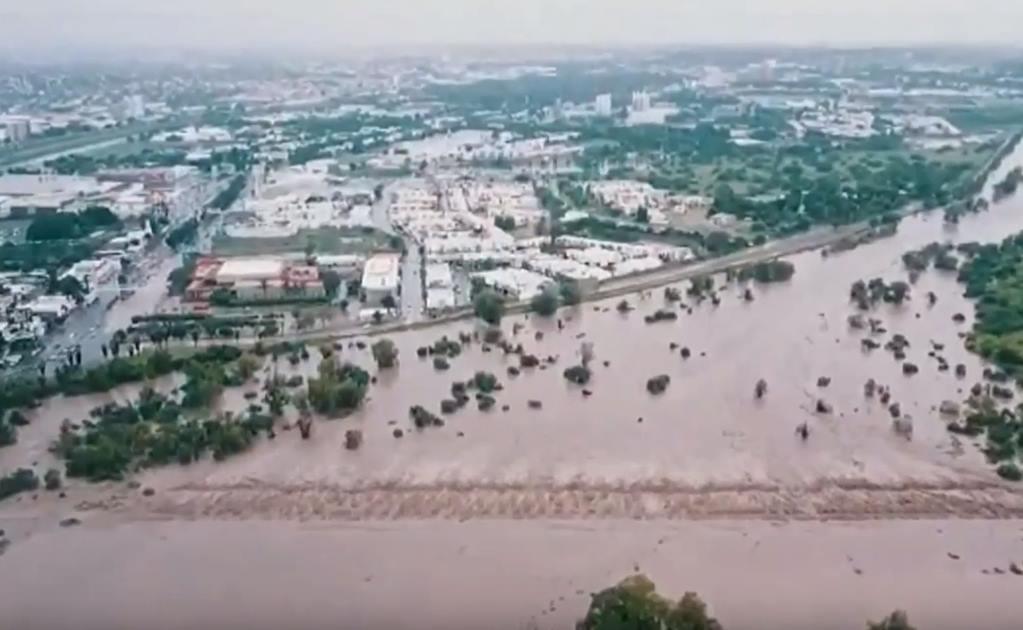 inundaciones por desbordamiento de presa Derivadora en Sinaloa