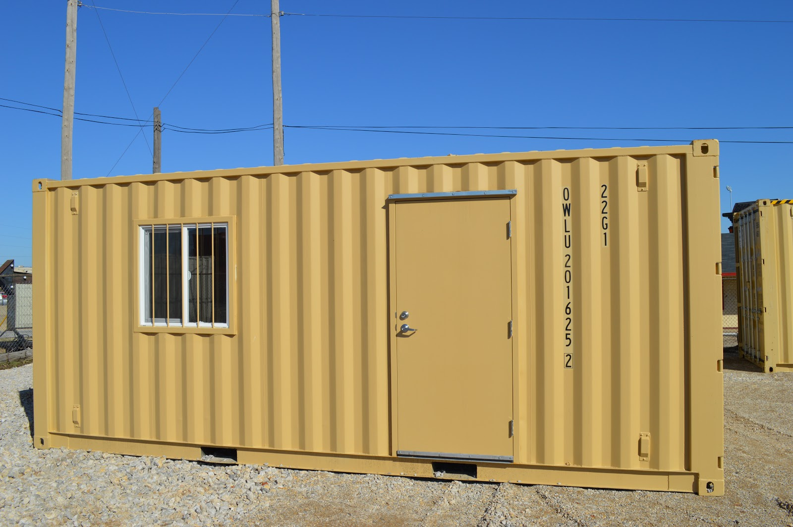 tan 20-foot mobile office container