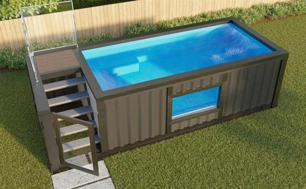 above ground shipping container pool with a window in the middle