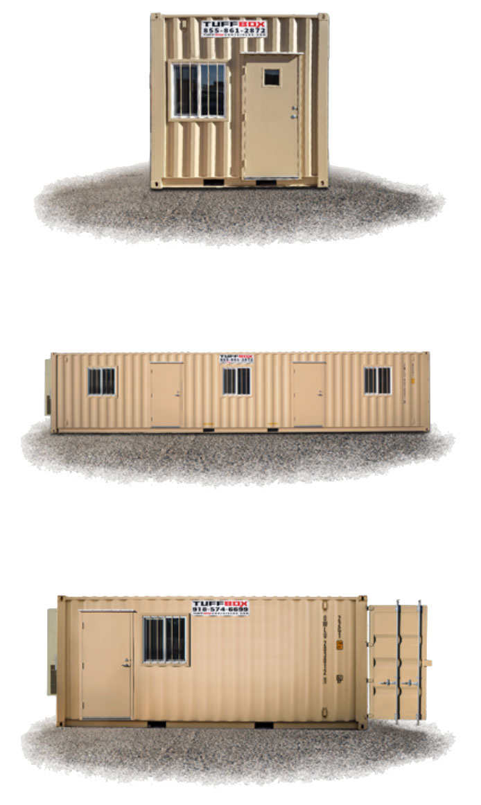 10-foot, 40-foot and 20-foot combination Tuff Box Mobile Office Containers