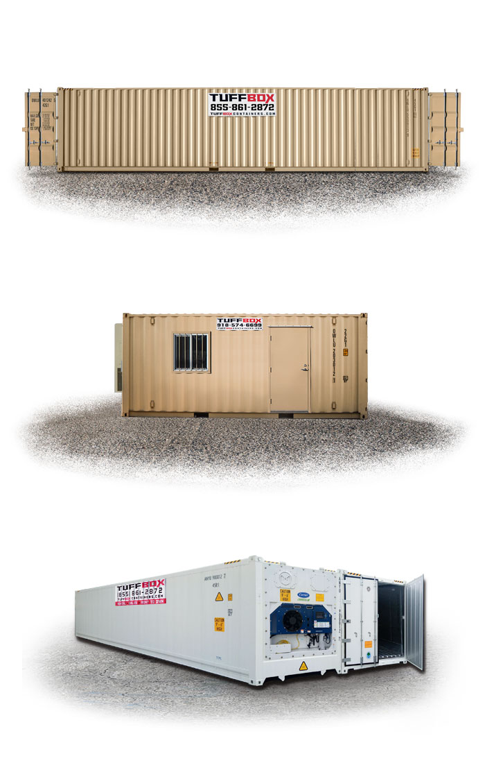 40-foot double door shipping container, a mobile office container, and a cold storage container