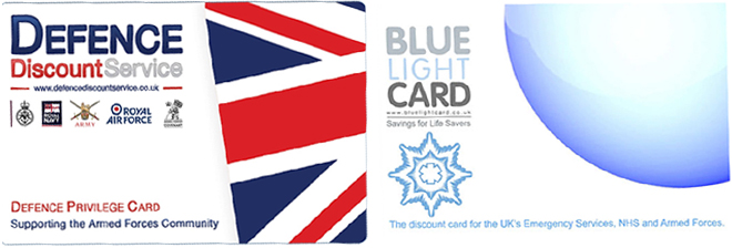 Defence and Blue Light Discount Cards